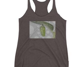 Women's Shirt/Women's Racerback Tank/Monarch Butterfly/ cocoon stage/ banana leaf/ kaleidoscope/metamorphosis