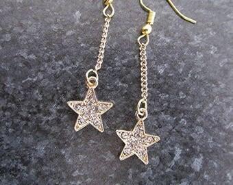 Star earrings rhinestone earrings gold earrings dangle earrings boho earrings hippie earrings star jewelry gift for her.