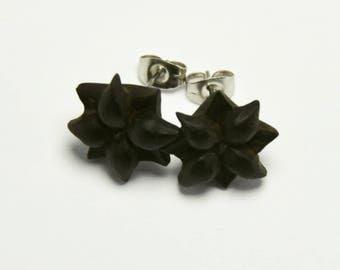 Blooming Clover Stirrup Earrings Stud Loop Posts - Arang Wood