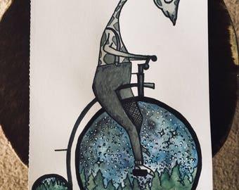 Giraffe Rides / Original Print