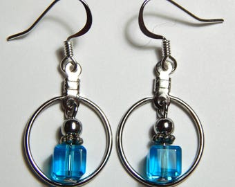 Hoops and Turquoise Cubes with Surgical Steel Earwires