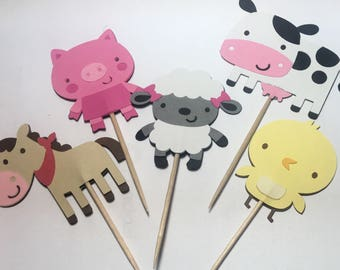 Fun on the farm Cupcake Toppers Set of 12