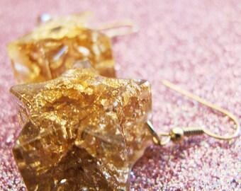 Gold Leaf Starburst Dangle Earrings