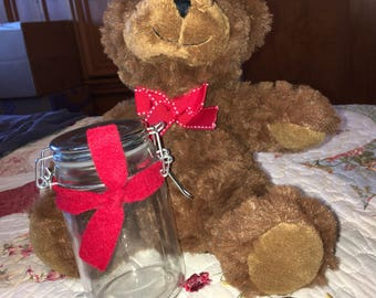 Stuffed Bear with empty jar for you to fill