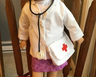 """Dr./nurse outfit fits 18"""" dolls such as American girl"""