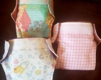 Set of 3 Reusable Doll diapers with water resistant liner Flannel Doll diapers. Pretend play. Padded doll diapers.