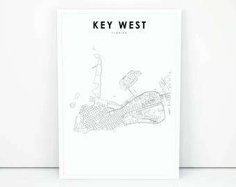 Key West Map Print, Florida FL USA Map Art Poster, City Street Road Map Print, Nursery Room Wall Office Decor, Printable Map
