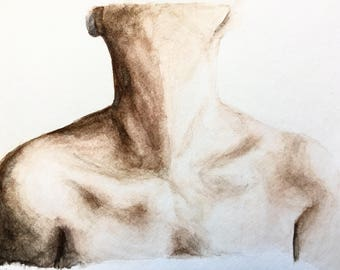 Watercolor Painting - Abstract Collarbones