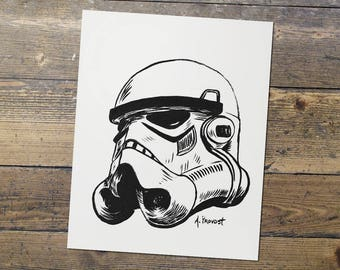 Stormtrooper - Helmet - Star Wars - Fan Art - Stormtrooper Print - Gift for Him