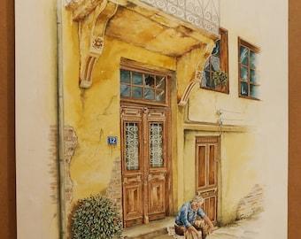 OLD GREEK DOORS, Old Door in Thessaloniki (center) with Man Resting, (Aquarelle) 50x70cm, 2014