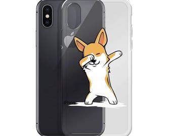 Funny Dabbing Corgi iPhone Case, Cute Corgi Gift, Dog Dab Dance Phone Case