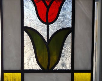 Stained Glass - Red tulip in rectangular frame