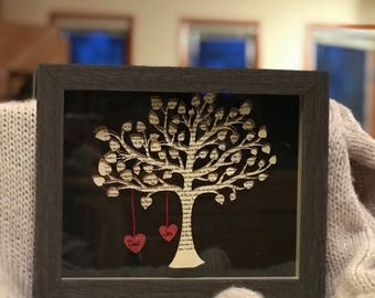 Framed tree with song lyrics  - Wedding Song Art- Song Lyrics on Tree - Mother's Day Gift - Wedding Gift - 3D Tree with lyrics