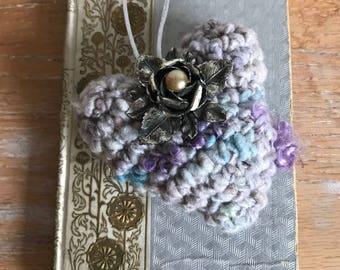 Purple & Gray Art Heart Ornament, Hand Spun Yarn Embellished With Vintage Brooch