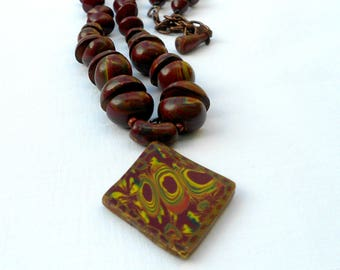 Rhombus pendant, Pendant necklace,Beaded necklace,Polymer clay necklace