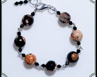 "Handmade orange black bracelet made with Jasper gemstones and crystals from ""B.B. Bijoux"""