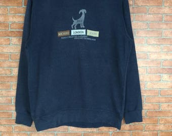 Rare!! Michiko London Jeans Spell Out Embroided Sweatshirt Crewneck Large Size
