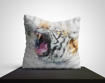 Growling Tiger Art Best Pillow Gifts, 18x18 Throw Pillow with Tiger, Tiger Lover Gift, Animal Gifts For Her, Made in USA