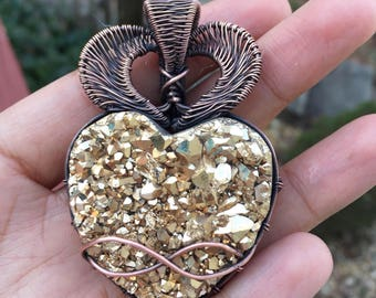 Heart Gold Aura Quartz Pendant,Wire Wrapped Jewelry,Wire Wrapped Quartz, Necklace,Valentines, Druzy,Wire Wrapped Crystal