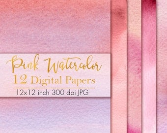 Pink Watercolor Digital Paper, Real Watercolor Texture, Watercolor pattern, Watercolor paper pack, Watercolor clipart, Instant download