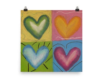 Four Hearts - Beautiful Archival Cotton Rag Fine Art Giclée Print Supporting the Nonprofit Fresh Artists