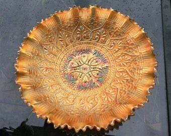 Northwood Carnival Glass Pie Crust Edge Marigold Hearts and Flowers Bowl. 9 inch, made 1912.