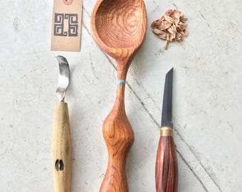 Red oak Ergonomic Cooking / Serving spoon. Great for soups!