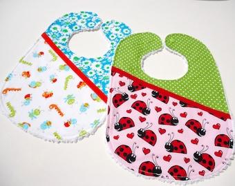 Baby chenille bibs- Baby girl bibs-Caterpillar bib-Girl bibs-Ladybug bib-Feeding bibs for girls-baby girl gift