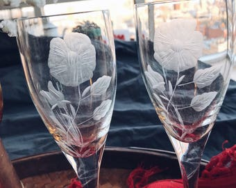 Etched floral champagne flutes // pair of champagne glasses // his and hers // romantic gifts // Valentine's Day