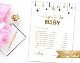 Navy blue prayers for the baby | Twinkle twinkle little star baby shower | Printable wishes for the baby | Personalized prayers for baby