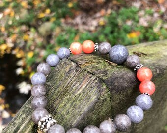 Mist Grey and Coral Jade