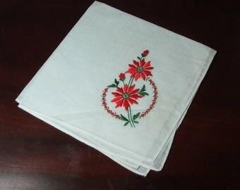 Vintage White Handkerchief with embroidered Pointsetta