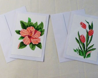 Handmade Greeting Card, Set of 2 hand painted All Occasion Greeting Cards, Floral Greeting Cards, Made in the USA, #33