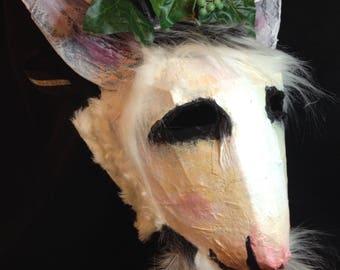 satyr mask horned masquerade carnival festival costume animal creepy fun wild goat adult mythic beltane satyr sot pan greenman wine god
