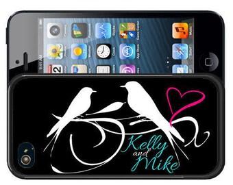 Personalized Rubber Case For iPhone X, 8, 8 plus, 7, 7 plus, 6s, 6s plus, 5, 5s, 5c, SE - Love Birds Black White