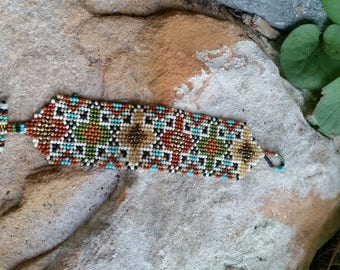 Hand beaded multi colored bracelet