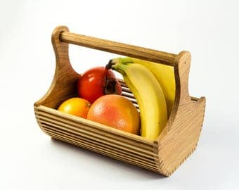 Wooden Handmade Fruit Box With Handle