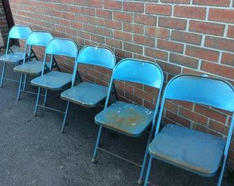 Set of Six Krueger Vintage Foldaway Chairs