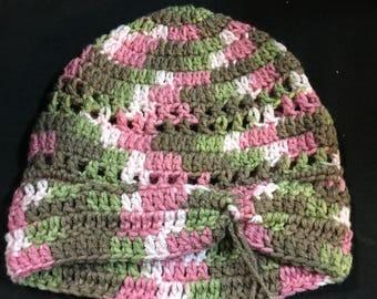 Crochet hat. Pink camo