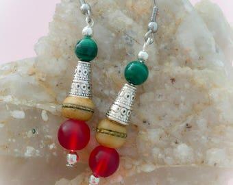 malachite and yak bone earrings