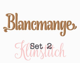 50% Sale!! Set 2 Blancmange Embroidery Fonts 6 Sizes Fonts BX Fonts Embroidery Designs PES Fonts Alphabets - Instant Download