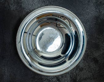Silver Plate Large Bowl, Rustic Antique Tarnished- Photography Props