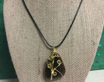 Wire wrapped tiger eye