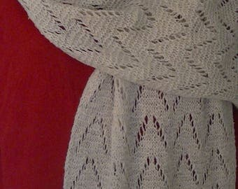 100% Lena Cashmere Hand Knitted Stole in natural Ivory colour.