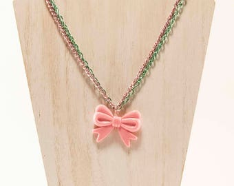 Put A Bow On It- Decoden Kawaii Pink Green Chain Necklace