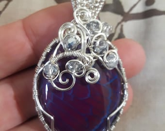 Dragon's vain agate wrapped with German style silver and Czech glass