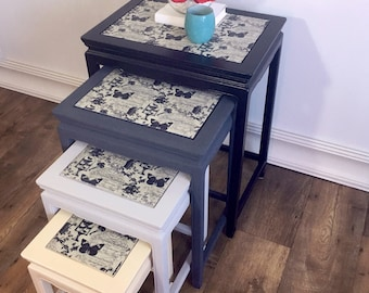 Refinished Wood Nesting Tables Set of 4 - SOLD