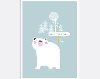 Prints for kids / posters for kids / nursery art / nursery wall art / nursery prints /nursery decor /kids room decor /North Pole /polar bear