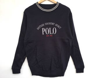 Polo British Country Sweatshirt Embroidery Big Logo Spell Out Pull Over