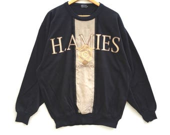 Rare! Hardy Amies Sweatshirt Big Logo Spell Out Pull Over Embroidery colour block